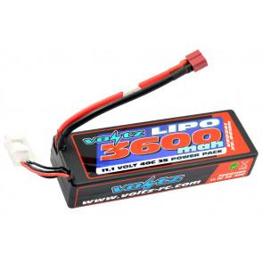 Voltz 3600mAh 3S 11.1V 40C Hard Case LiPo RC Car Battery (2S Size!) w/XT60 Plug