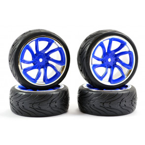 Fastrax 1/10th Street Tread Tyres on TRI-5 Blue and Chrome Wheels Set of 4