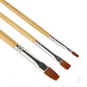 Guild Lane High Quality Flat Synthetic Paint Brush Set - 3 Piece Set