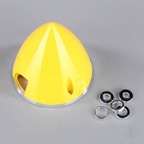 JP 63mm Yellow Spinner (with Aluminium Back Plate) For RC Model Plane