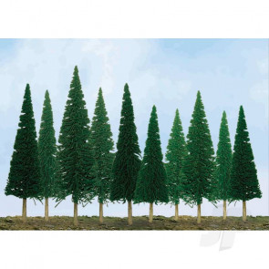 """JTT 92001 Scenic-Pine, 1"""" to 2"""", Z-Scale, (55 pack) Trees For Scenic Diorama Model Trains"""