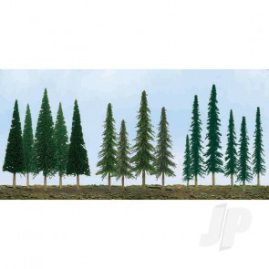 "JTT 92117 Pine Conifer Spruce, 2.5"" to 6"", N to HO-Scale, (46 pack) Trees For Scenic Diorama Model Trains"