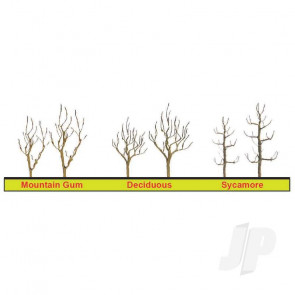 """JTT 94124 Sycamore Tree Armature, 4"""", (3 pack) For Scenic Diorama Model Trains"""