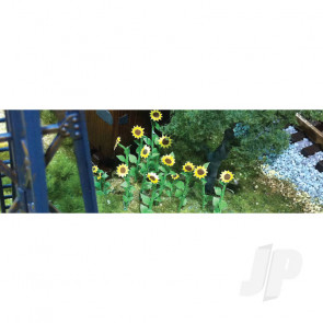 """JTT 95524 Sunflowers, 2"""" Tall, O-Scale, (16 pack) For Scenic Diorama Model Trains"""