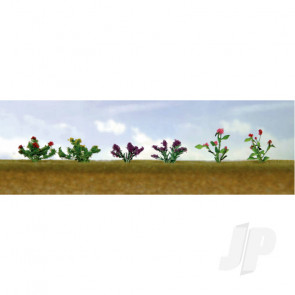 JTT 95558 Assorted Flower Plants 1, O-Scale, (10 pack) For Scenic Diorama Model Trains