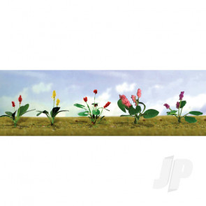 JTT 95561 Assorted Flower Plants 3, HO-Scale, (12 pack) For Scenic Diorama Model Trains