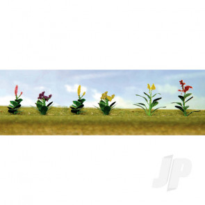 JTT 95563 Assorted Flower Plants 4, HO-Scale, (12 pack) For Scenic Diorama Model Trains