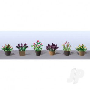 JTT 95566 Assorted Potted Flower Plants 1, O-Scale, (6 pack) For Scenic Diorama Model Trains
