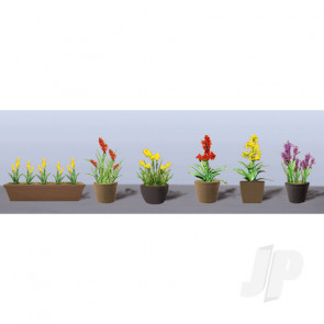 JTT 95568 Assorted Potted Flower Plants 2, O-Scale, (6 pack) For Scenic Diorama Model Trains
