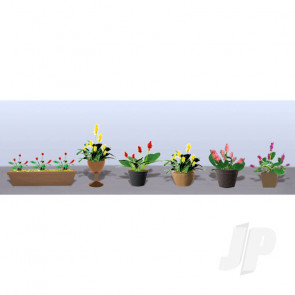 JTT 95570 Assorted Potted Flower Plants 3, O-Scale, (6 pack) For Scenic Diorama Model Trains