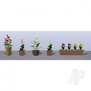 JTT 95572 Assorted Potted Flower Plants 4, O-Scale, (6 pack) For Scenic Diorama Model Trains