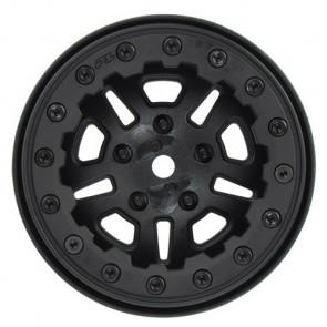 "PROLINE FAULTLINE 2.2"" BLACK/ BLACK BEADLOC 10 SPOKE RC Car Wheels & Tyres"