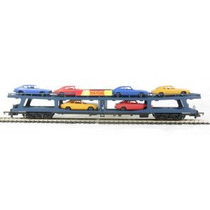 Car Transporter Bogie Wagon with 6 Cars in Blue Livery - Hornby R6423