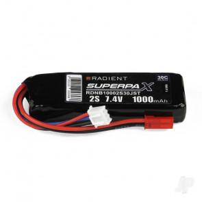 Radient 1000mAh 2S 7.4v 30C RC LiPo Battery w/ JST Connector Plug
