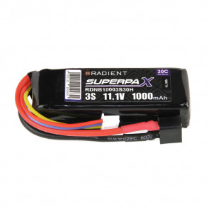 Radient 3S 1000mAh 11.1V 30C LiPo Battery w/ Deans (HCT) Connector Plug