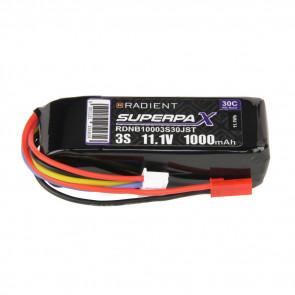 Radient 3S 1000mAh 11.1V 30C LiPo Battery w/ JST Connector Plug