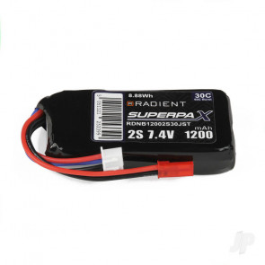 Radient 1200mAh 2S 7.4v 30C RC LiPo Battery w/ JST Connector Plug