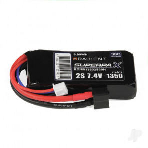 Radient 1350mAh 2S 7.4v 30C RC LiPo Battery w/ Deans (HCT) Connector Plug