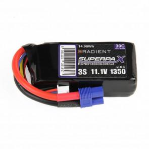 Radient 3S 1350mAh 11.1V 30C LiPo Battery w/ EC3 Connector Plug