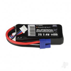 Radient 1400mAh 2S 7.4v 30C RC LiPo Battery w/ EC3 Connector Plug
