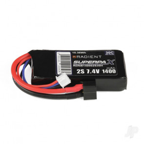Radient 1400mAh 2S 7.4v 30C RC LiPo Battery w/ Deans (HCT) Connector Plug