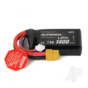 Radient LiPo Battery 2S 1400mAh 7.4V 30C XT60 Connector Plug