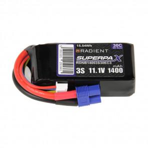 Radient 3S 1400mAh 11.1V 30C LiPo Battery w/ EC3 Connector Plug