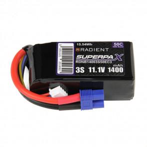 Radient 3S 1400mAh 11.1V 50C LiPo Battery w/ EC3 Connector Plug