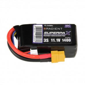 Radient 3S 1400mAh 11.1V 50C LiPo Battery w/ XT60 Connector Plug