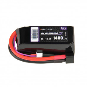 Radient 4S 1400mAh 14.8V 50C LiPo Battery w/ Deans (HCT) Connector Plug