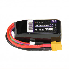Radient 4S 1400mAh 14.8V 50C LiPo Battery w/ XT60 Connector Plug