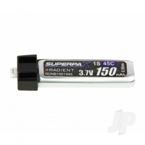 Radient LiPo Battery 1S 150mAh 3.7V 45C Ultra-Micro Connector Plug