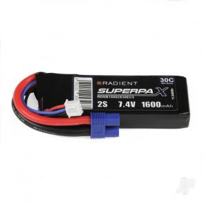 Radient 1600mAh 2S 7.4v 30C RC LiPo Battery w/ EC3 Connector Plug