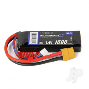 Radient LiPo Battery 2S 1600mAh 7.4V 30C XT60 Connector Plug