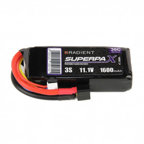 Radient 3S 1600mAh 11.1V 30C LiPo Battery w/ Deans (HCT) Connector Plug