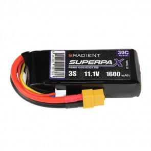 Radient 3S 1600mAh 11.1V 30C LiPo Battery w/ XT60 Connector Plug