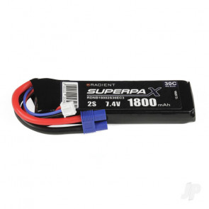 Radient 1800mAh 2S 7.4v 30C RC LiPo Battery w/ EC3 Connector Plug