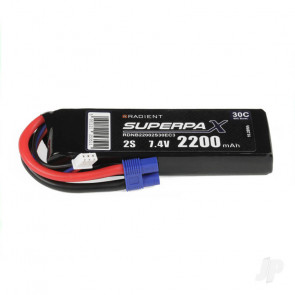 Radient 2200mAh 2S 7.4v 30C RC LiPo Battery w/ EC3 Connector Plug
