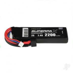 Radient 2200mAh 2S 7.4v 30C RC LiPo Battery w/ Deans (HCT) Connector Plug