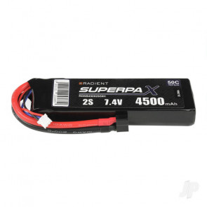 Radient 4500mAh 2S 7.4v 50C RC LiPo Battery w/ Deans (HCT) Connector Plug