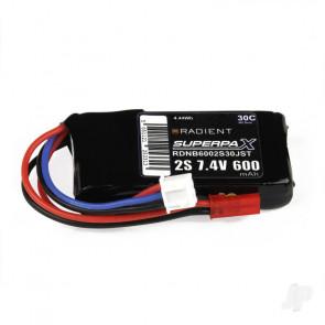 Radient 600mAh 2S 7.4v 30C RC LiPo Battery w/ JST Connector Plug