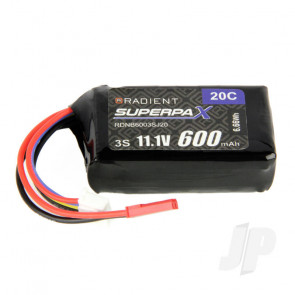 Radient LiPo Battery 3S 600mAh 11.1V 20C JST Connector Plug