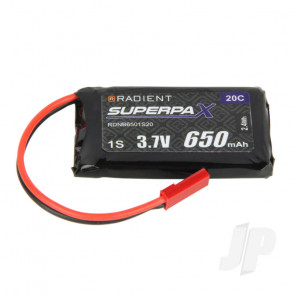 Radient LiPo Battery 1S 650mAh 3.7V 20C JST Connector Plug