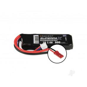 Radient 800mAh 2S 7.4v 30C RC LiPo Battery w/ JST Connector Plug