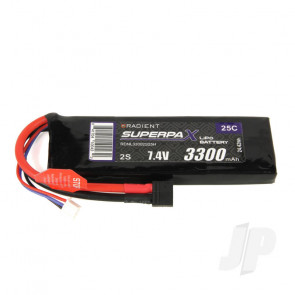 Radient LiPo Battery 2S 3300mAh 7.4V 25C Deans HCT T-style Connector Plug