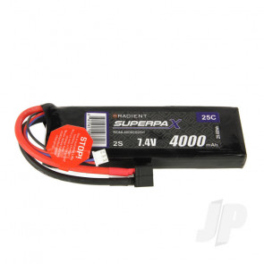 Radient LiPo Battery 2S 4000mAh 7.4V 25C Deans HCT T-style Connector Plug