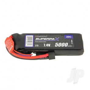 Radient LiPo Battery 2S 5000mAh 7.4V 20C Deans HCT T-style Connector Plug