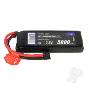 Radient LiPo Battery 2S 5000mAh 7.4V 25C Deans HCT T-style Connector Plug