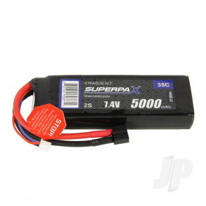 Radient LiPo Battery 2S 5000mAh 7.4V 35C Deans HCT T-style Connector Plug