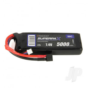 Radient LiPo Battery 2S 5000mAh 7.4V 50C Deans HCT T-style Connector